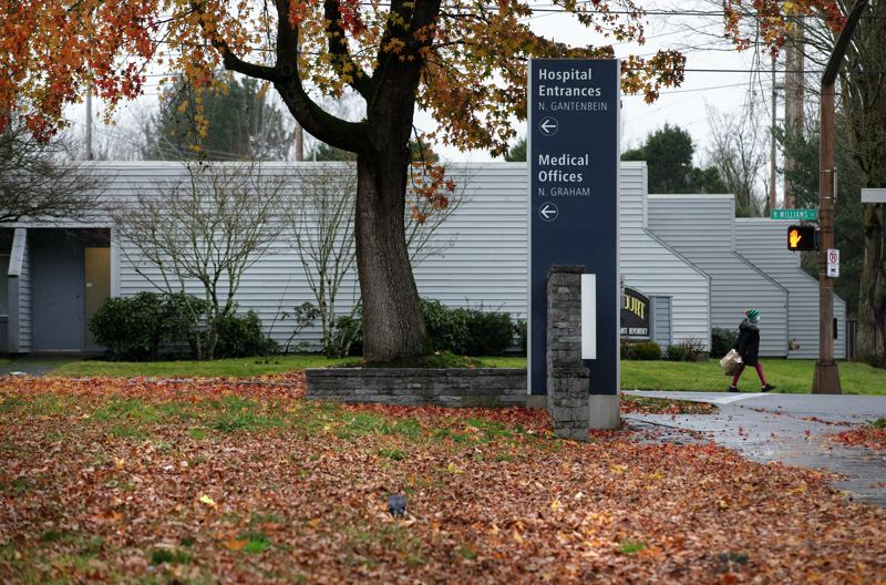 PMG PHOTO: JONATHAN HOUSE - A wayfinding sign for Legacy Emanuel Medical Center is shown here on North Williams Avenue in Portland.