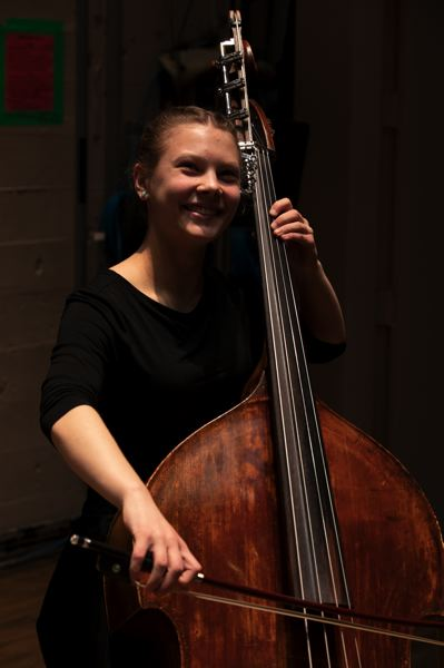 COURTESY PHOTO: BEV STANDISH - Bass player Maggie Carter looks forward to seeing the final produce, PYP's 'Concert-at-Christmas.'