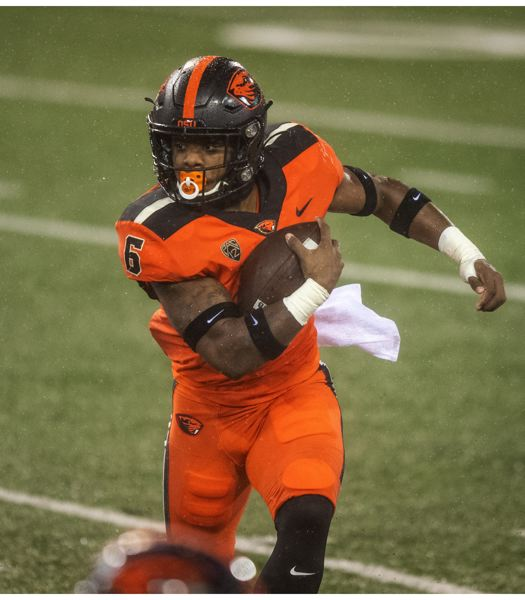 COURTESY PHOTO: KARL MAASDAM/OSU ATHLETICS - Could Jermar Jefferson have played his last game with Oregon State? Is he heading to the NFL?