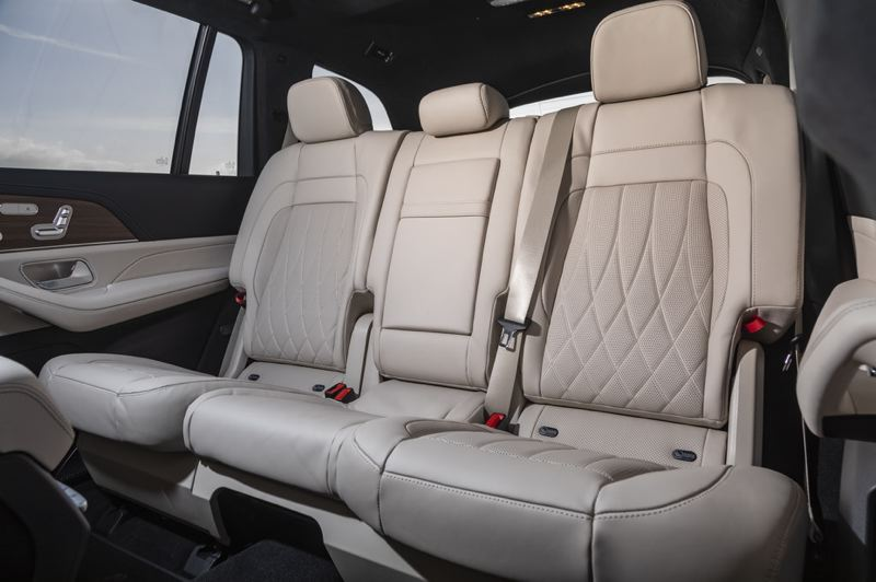 COURTESY MERCEDES-BENZ - The second row of seats in the 2021 Mercedes-AMG GLS 63 can carry up to three adults in comfort and style.