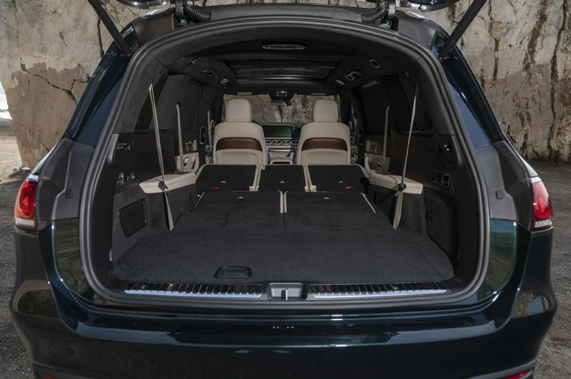 COURTESY MERCEDES-BENZ - Because it is a large SUV, the 2021 Mercedes-AMG GLS 63 has an enormous amount of cargo space.