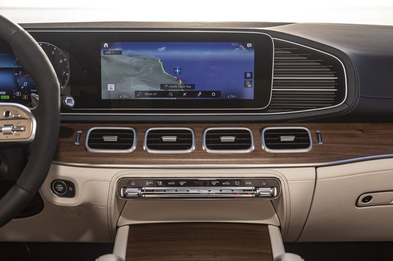 COURTESY MERCEDES-BENZ - The huge infortainment display screen in the 2021 Mercedes-AMG GLS 63.