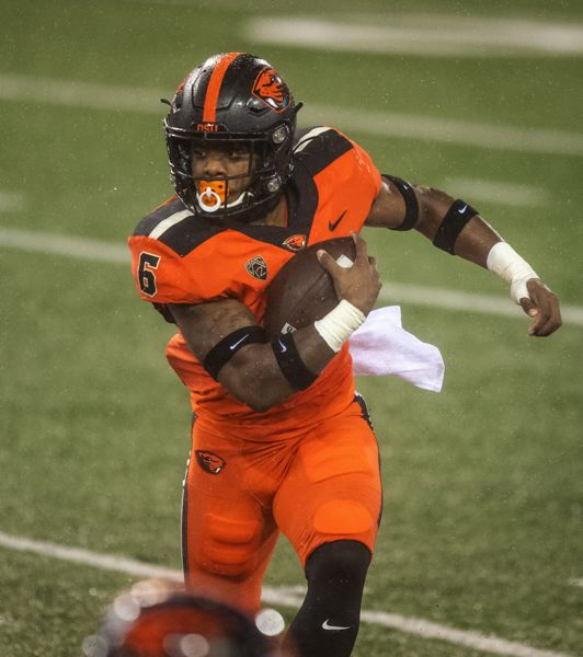 COURTESY PHOTO: KARL MAASDAM/OSU ATHLETICS - Will running back Jermar Jefferson jump to the NFL? He had a stellar junior season with Oregon State.