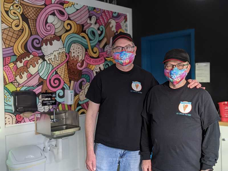 PMG PHOTO: COURTNEY VAUGHN - Don Webber (left) and Tracy Webber (right) recently launched The Village Ice Cream Factory in Southwest Portlands Multnomah Village neighborhood. The Webbers make their ice cream on site and offer rotating flavors ranging from classic chocolate and vanilla to cereal and candy bar infusions.