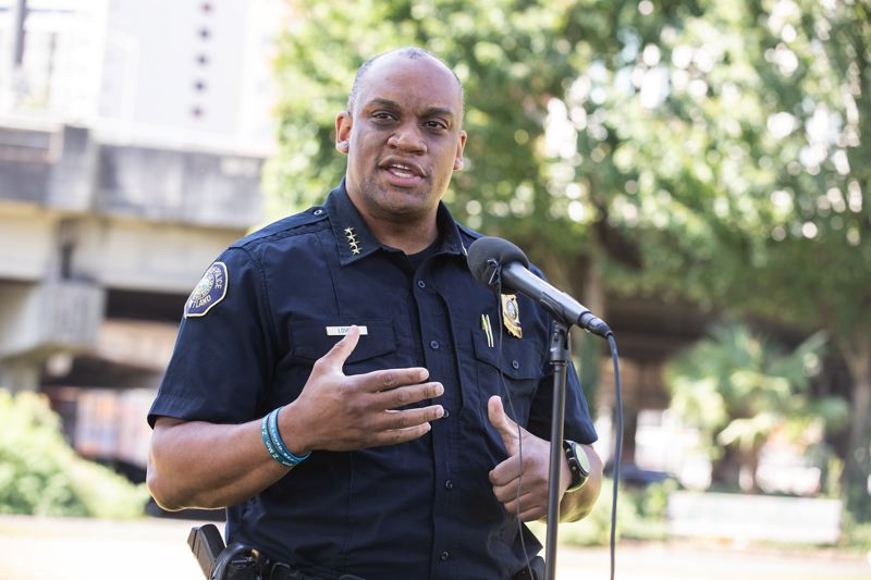 PMG PHOTO: JONATHAN HOUSE - In August Chief Chuck Lovell addressed reporters in Waterfront Park, saying that nightly clashes between agitators and police had sapped the number of officers on patrol and contributed to 911 response delays.