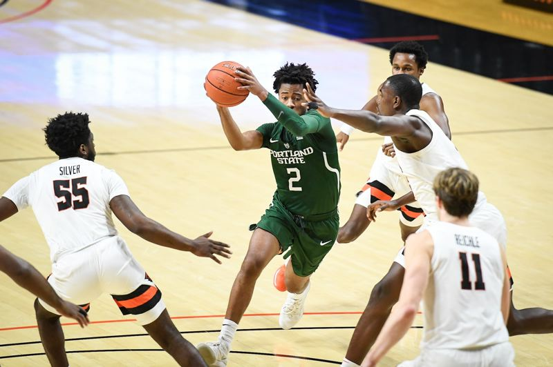 COURTESY PHOTO: KARL MAASDAM/OSU ATHLETICS - Portland State's james Scott drives into the key against Oregon State on Tuesday at Gill Colseum. The Beavers won 67-62.