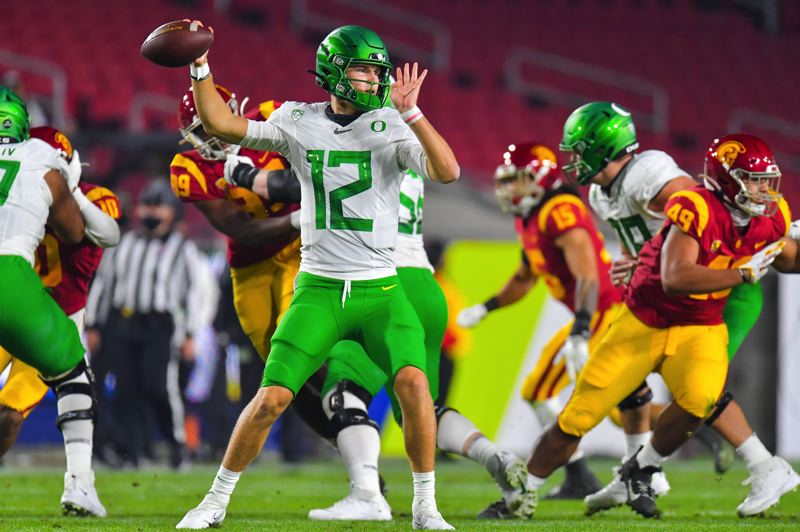 COURTESY PHOTO: JOHN MC GILLEN/USC ATHLETICS - The confident, decisive Tyler Shough from early this season is the version of the quarterback Oregon hopes to see in the Jan. 2 Fiesta Bowl against No. 10 Iowa State.