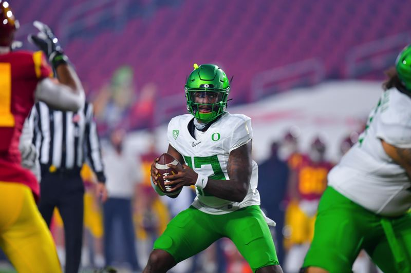 COURTESY PHOTO: JOHN MC GILLEN/USC ATHLETICS - In his first action for Oregon, senior transfer QB Anthony Brown was key to the victory over USC. What might his role be for the Fiesta Bowl?