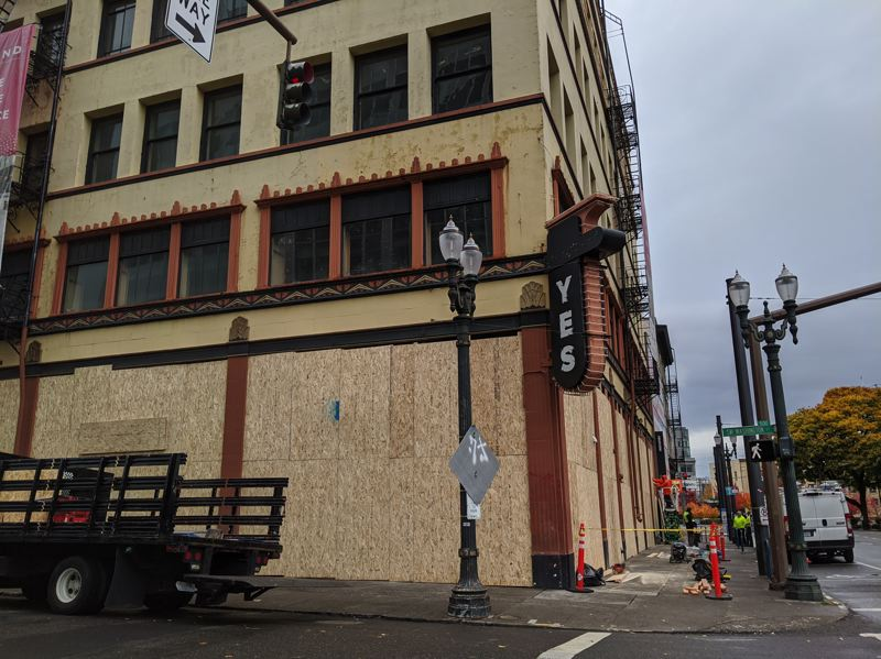 PMG: JOSEPH GALLIVAN - Yes, no, maybe, I don't care....Many Portland downtown businesses boarded up in fear of having their windows smashed.