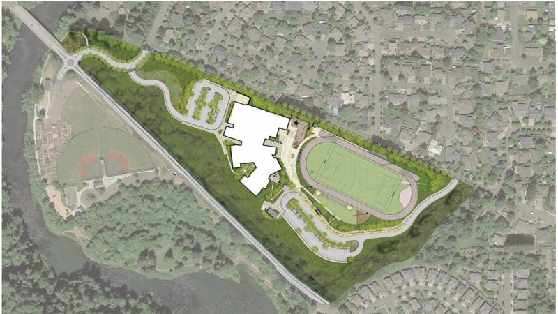 COURTESY PHOTO: WEST LINN-WILSONVILLE SCHOOL DISTRICT - A concept aerial image of the new middle school.