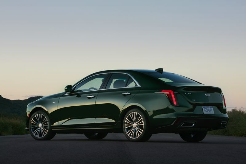COURTESY CADILLAC - The Cadillac CT4 looks good coming and going, thanks to such styling touches as an integrated rear spoiler and chrome exhaust tips.