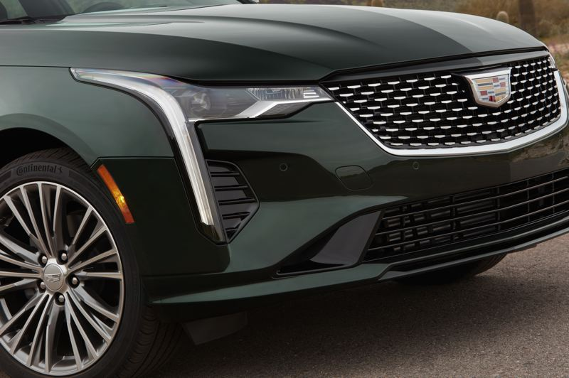 COURTESY CADILLAC - The traditional Cadillac grill and emblem are complimented by the modern flush headlines on the CT4.