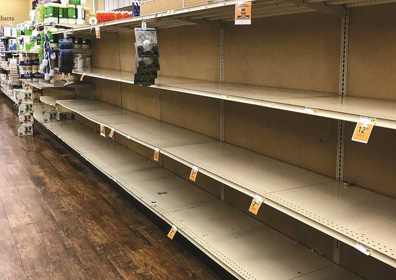 CENTRAL OREGONIAN - During the first few weeks of the pandemic, empy toilet paper shelves were a common sight at grocery stores.
