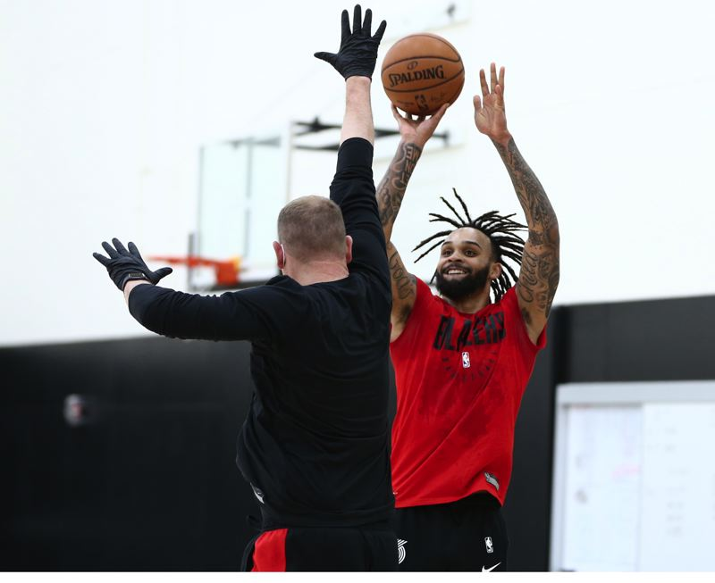 COURTESY PHOTO: BRUCE ELY/TRAIL BLAZERS - Gary Trent Jr., shown her in practice, sparked the Trail Blazers with 28 points, including seven 3-pointers and a personal 11-point third-quarter run, in a win over the Los Angeles Lakers on Monday.
