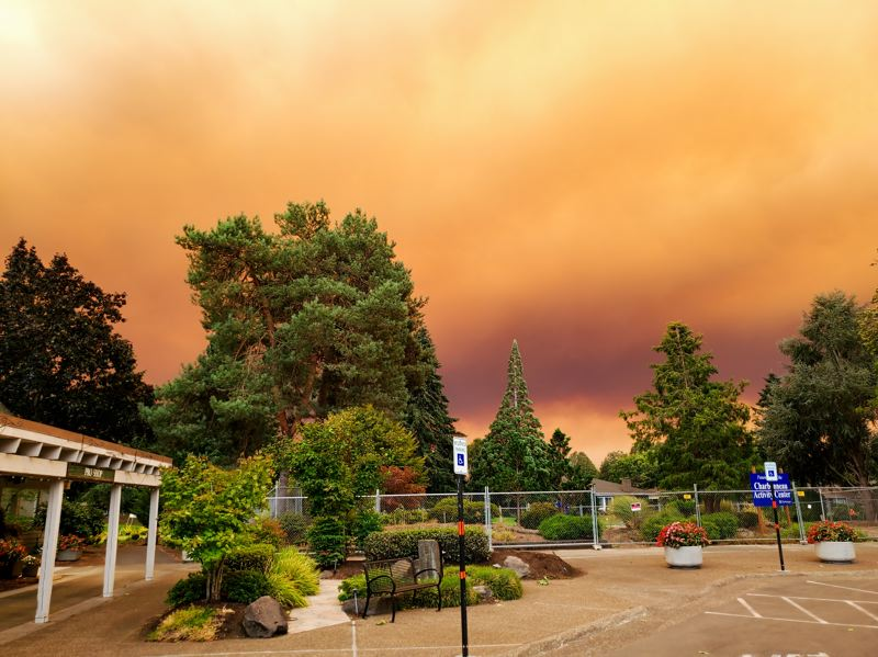 COURTESY PHOTO - Regional wildfires turned the sky orange in Charbonneau in September.