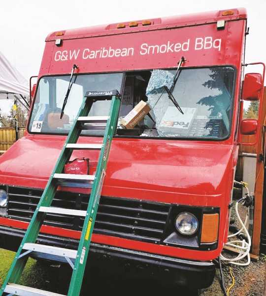 COURTESY PHOTO - The G&W Caribbean Smoked BBQ food truck, located in the food pod on First Street, was vandalized on Dec. 28.