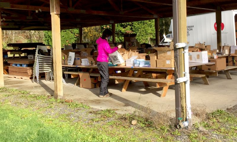COURTESY PHOTO: MULTNOMAH COUNTY EDUCATION SERVICE DISTRICT  - MESD employees assembled the Outdoor School kits outdoors for pandemic safety.