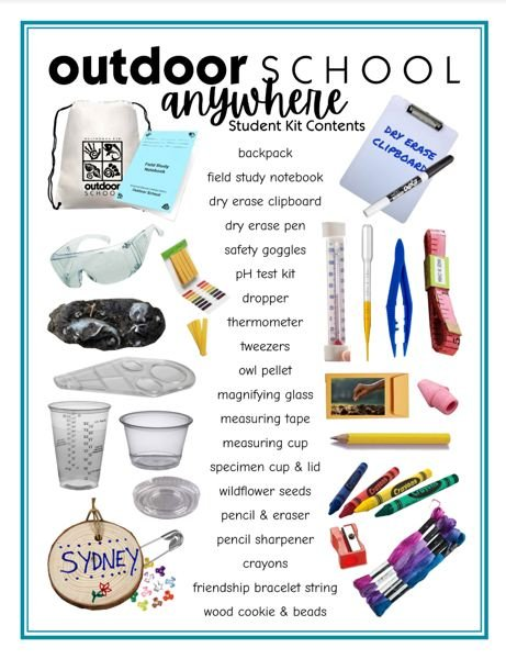 COURTESY ART: MULTNOMAH COUNTY EDUCATION SERVICE DISTRICT  - The sets include all sorts of simple equipment for science study and even the supplies for a traditional Outdoor School name tag.
