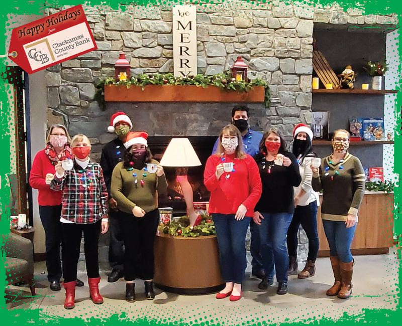 COURTESY PHOTO: CLACKAMAS COUNTY BANK  - And the winner was... Clackamas County Bank. Their photo raised $3,496 of the $12,571 total collected by the Bess Christmas Picture Pageant Ever benefiting SnowCap Community Charities and My Fathers House.