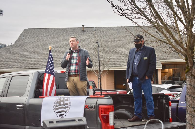 PMG PHOTO: EMILY LINDSTRAND - Sandy Mayor Stan Pulliam and Estacada Mayor Sean Drinkwine both spoke at a rally in support of local businesses reopening on Jan. 1, in spite of COVID-19 restrictions.