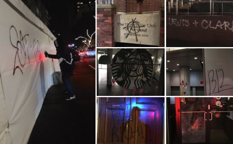 COURTESY PHOTO: PPB - Portland Police Bureau says a group of about 40 people vandalized downtown Portland on Dec. 30.