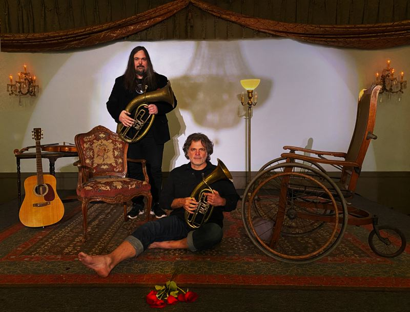 COURTESY PHOTO - When Ben Landsverk (left) and Jim Brunberg get together as Wonderly they make stories and music with their 'workshop orchestra.' They have a new EP coming out, 'Story We Tell Volume 1.'