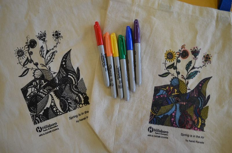 COURTESY PHOTO: CITY OF HILLSBORO - Tote bags for Hillsboro's annual Celebrate Hillsboro festival in 2019 decorated with a reproduction of 'Spring is in the Air' by artist Aarati Ranade.