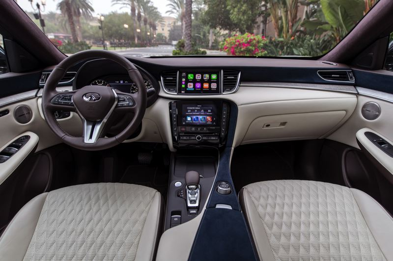 COURTESY INFINITI - The interior of the 2021 Infiniti QX50 is tasteful and features dual infotainment screens.