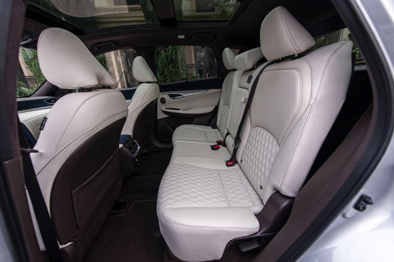 COURTESY INFINITI - There is a surprising amount of room in the back seats of the 2021 Infiniti QX50.