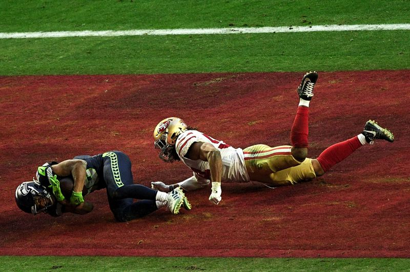 COURTESY PHOTO: MICHAEL WORKMAN - This fourth-down touchdown catch was the first of two for Tyler Lockett in the fourth quarter of Sunday's 26-23 Seahawks' win over San Francisco in a game played at Glendale, Arizona.