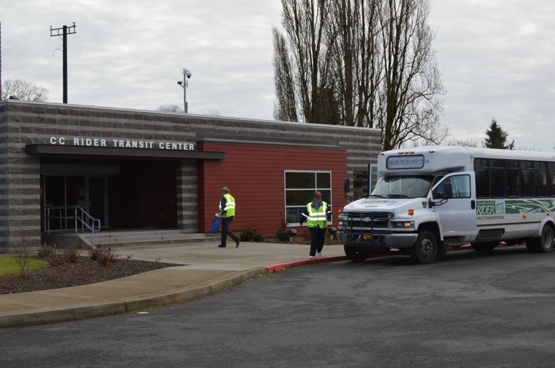 PMG FILE PHOTO - A bus headed for Portland Community College's Rock Creek campus prepares to leave the CC Rider yard in St. Helens.