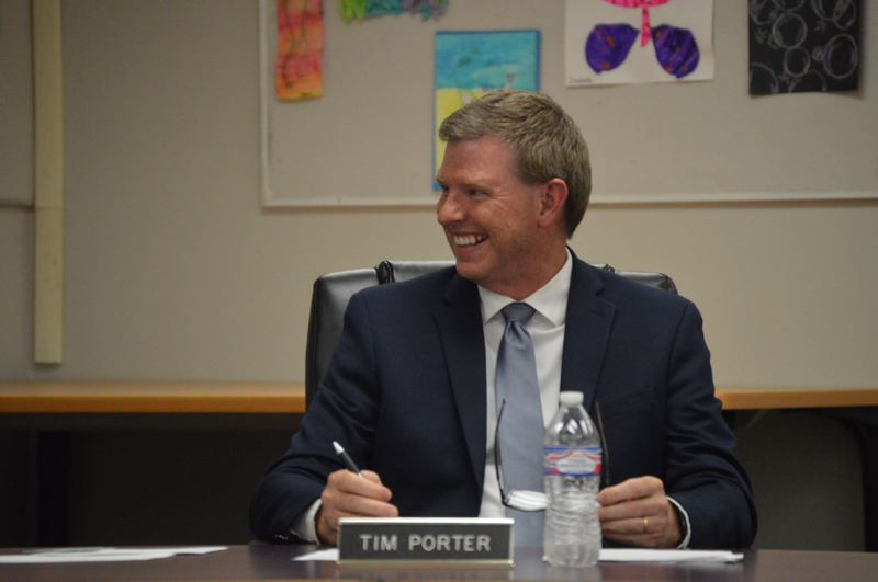 PMG FILE PHOTO - Tim Porter speaks at a Scappoose School Board meeting in 2019.