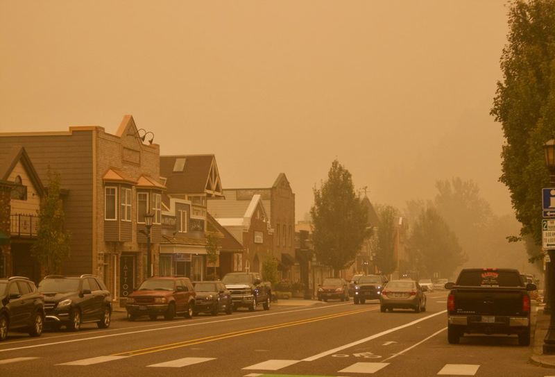 PMG FILE PHOTO - The 2020 wildfires blanketed the area in smoke and here gave Troutdale an otherworldly look.