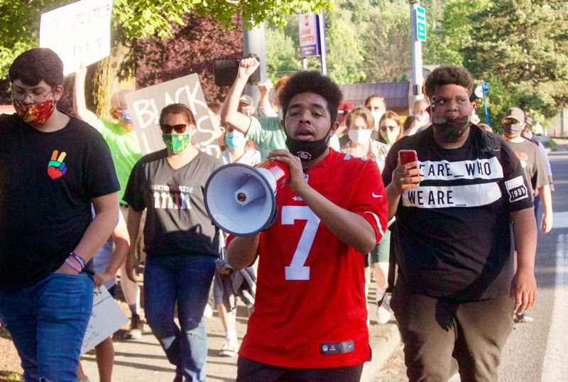 PMG FILE PHOTO - Shemar Lenox, 21, led a series of marches calling for police reform through his newly formed group the Gresham Standup Movement.