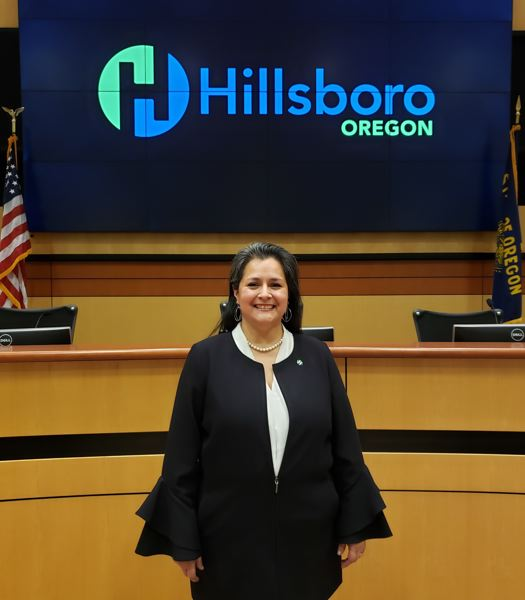 COURTESY PHOTO: CITY OF HILLSBORO - Hillsboro City Councilor Gina Roletto in the council chambers of the Hillsboro Civic Center on Wednesday, Dec. 30.