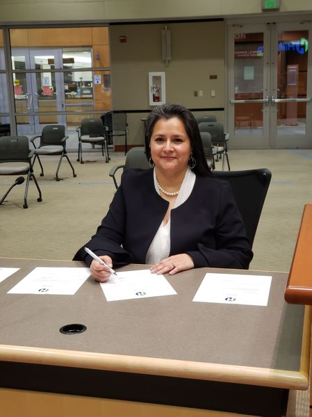 COURTESY PHOTO: CITY OF HILLSBORO - Hillsboro's newest city councilor, Gina Roletto, participated in a limited-attendance, video-recorded swearing-in ceremony at the Hillsboro Civic Center on Wednesday, Dec. 30