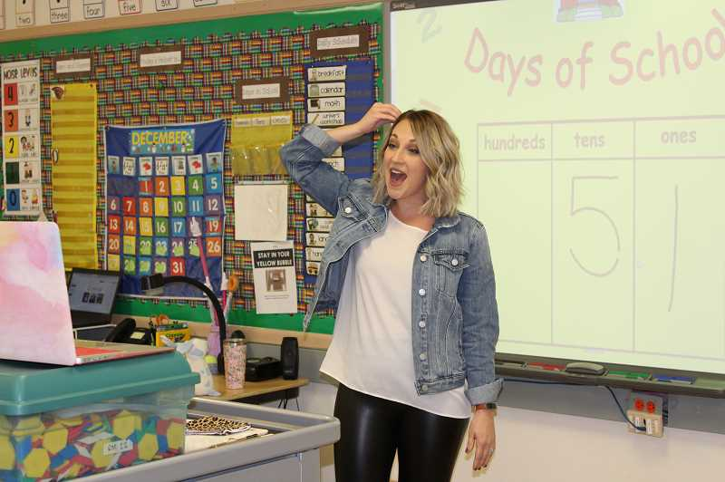 PMG PHOTO: HOLLY SCHOLZ - Erika Skaar has learned to exaggerate her facial expressions and gestures while teaching online from her Central Oregon classroom.