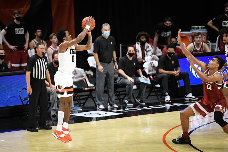 COURTESY PHOTO: OSU ATHLETICS/KARL MAASDAM - Gianni Hunt (0) made 4 of 6 3-pointers and scored a career-high 17 points Monday in Oregon State's loss to visiting Stanford.