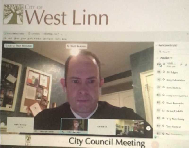 PMG SCREENSHOT: VIRTUAL MEETING OF WEST LINN CITY COUNCIL - Municipal Judge Rhett Bernstein swore Mary Baumgardner, Rory Bialostosky and Jules Walters into their new council positions at a West Linn City Council meeting Jan. 4.