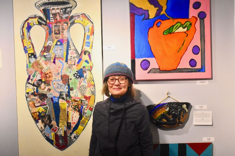 PMG PHOTO: EMILY LINDSTRAND - Nina Bradford submitted several paintings and collages for the Spiral Gallery's latest show 'Looking Back and Looking Forward.'