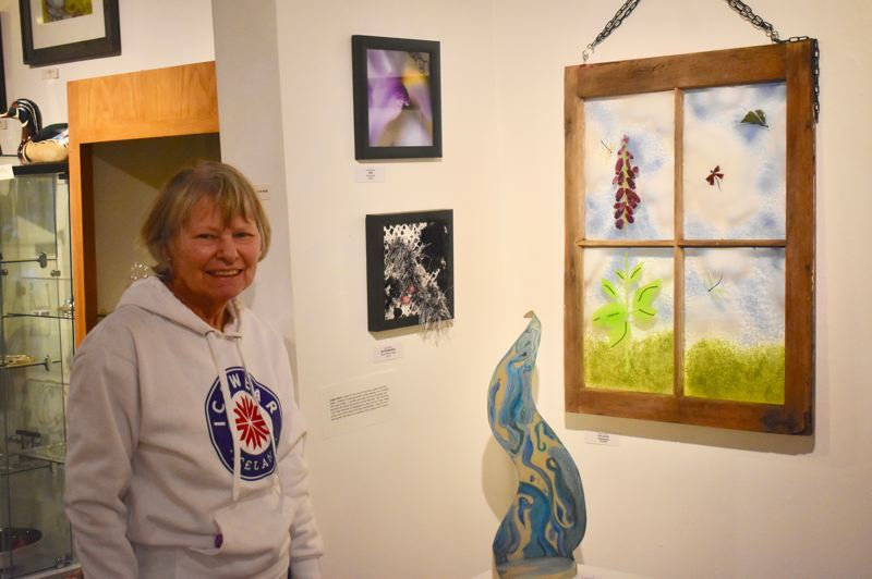PMG PHOTO: EMILY LINDSTRAND - Louise Stivers has several art pieces in the Spiral Gallery show 'Looking Back and Looking Forward.'