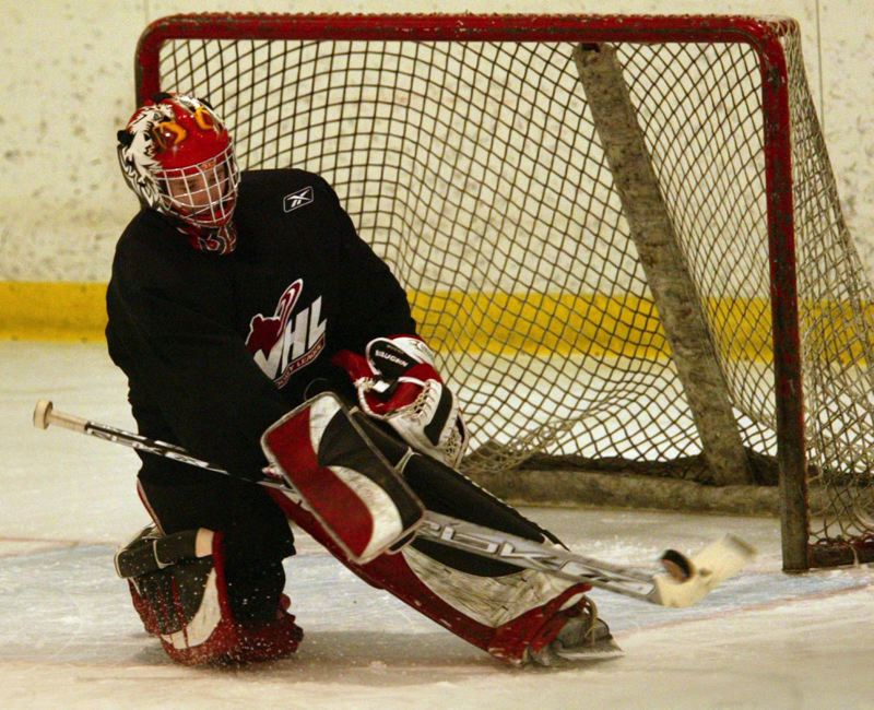 PMG FILE PHOTO - Curtis Mucha, then of the Portland Winterhawks, defends the goal during a practice at the Sherwood Ice Arena in 2007.