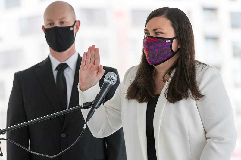 PMG PHOTO: JAIME VALDEZ - Beaverton held a swearing-in ceremony on Jan. 5 to welcome Lacey Beaty as the citys first female mayor.