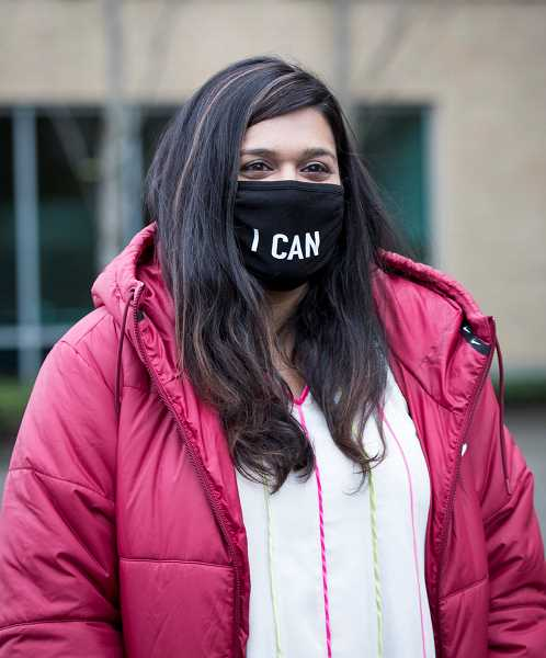 PMG PHOTO: JAIME VALDEZ - Beaverton City Councilor Nadia Hasan wears a facemask during her swearing-in ceremony. Hasan defeated Patrick Wolcott and Douglas Jones for the Beaverton City Council Position 6 race, which was created by Beavertons new city charter.