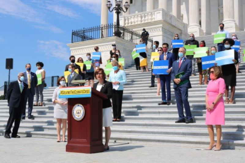 PMG FILE PHOTO - U.S. Rep. Suzanne Bonamici, D-Oregon, on the House steps of the Capitol in Washington, D.C., on June 30, 2020. The Capitol was evacuated Wednesday, Jan. 6, as pro-Trump protesters stormed the building.