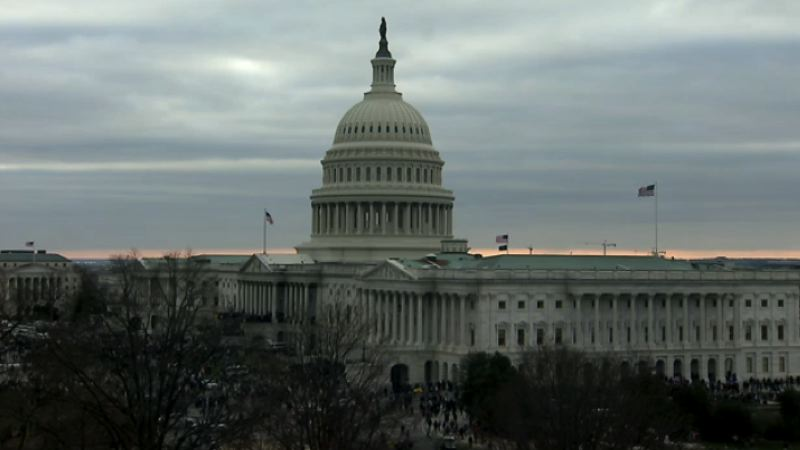 SCREENSHOT - A crowd gathers outside the U.S. Capitol on Jan 6.