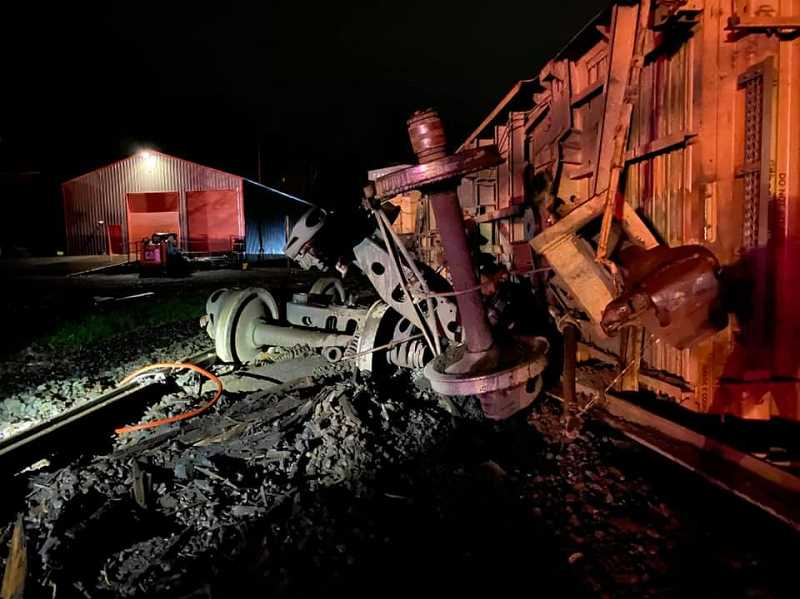 COURTESY PHOTO: CCSO - Remnants of a derailed train north of Canby are pictured in the middle of the night Wednesday, Jan. 6.