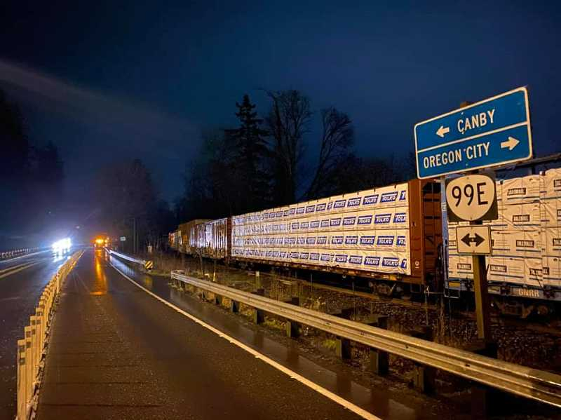 COURTESY PHOTO: CCSO - The train was derailed along Highway 99E between Canby and Oregon City near South End Road.