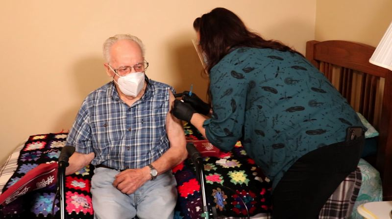 COURTESY PHOTO: THE SPRINGS LIVING - Don Scattarella was the first resident at The Springs at Carman Oaks to be vaccinated.