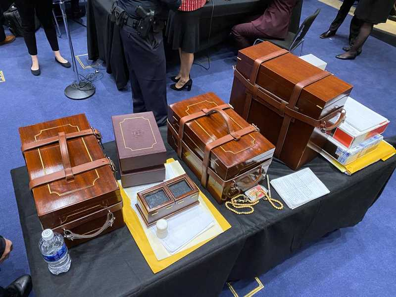COURTESY PHOTO: SEN. JEFF MERKLEY - U.S. Sen. Jeff Merkley shared a photo Wednesday, Jan. 6 of secured boxes containing electoral college ballots that were taken off the Senate floor by staff during an insurrection at the U.S. Capitol in which protesters breached security and broke in.